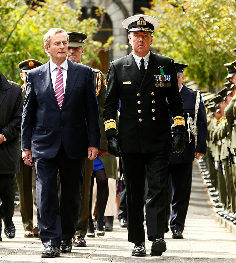 An Taoiseach Enda Kenny with D COS Sp R Adm Mark Mellett.jpg