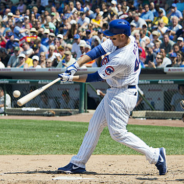 One of two Cubs building blocks, Anthony Rizzo, swinging in the box. Anthony Rizzo 2012.jpg