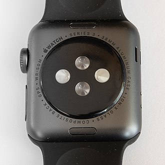 Apple Watch - Underside of the Series 3 showing sensors and the digital crown