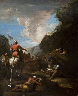 Siege of Syracuse (214–212 BC) - Hiero II of Syracuse calls Archimedes to fortify the city by Sebastiano Ricci (1720s).