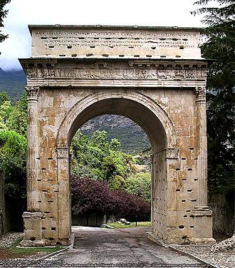 Alpine regiments of the Roman army - Triumphal arch dedicated to Augustus at Susa, Piedmont, Italy. Erected by Cottius, king of the Taurini, in 8 BC, to celebrate his appointment as Roman governor over the local Ligurian tribes of the Alpes Cottiae (which he had previously ruled as king)