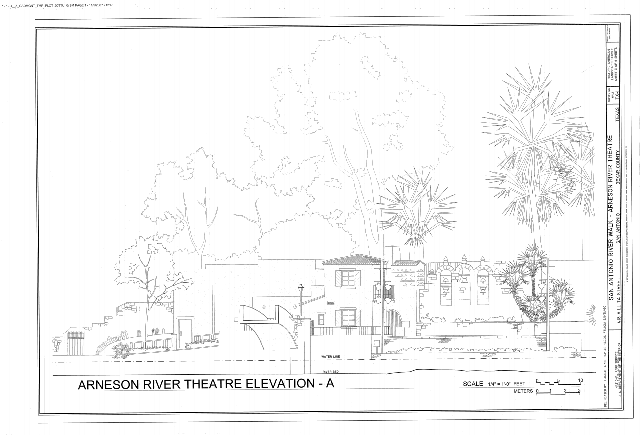 file arneson river theater elevation san antonio river walk 418 villita street san antonio bexar county tx hals tx 1 sheet 3 of 6 png wikimedia commons file arneson river theater elevation