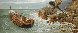 Cyklopen Polyphemos försöker att stoppa Odysseus flykt.