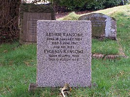 Arthur Ransome's Grave, Rusland Church. - geograph.org.uk - 1184478.jpg