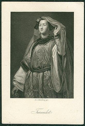 Turandot (Gozzi) - Image: Arthur von Ramberg gez, Schiller Galerie, Friedrich von Schiller, Sammelbild, Stahlstich um 1859, Turandot, Prinzessin von China, G. Jaquemot gestochen