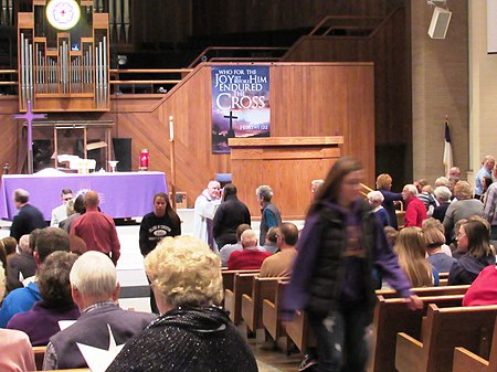 A Lutheran pastor distributes ashes during the Divine Service on Ash Wednesday. Ash Wednesday Mass at Nazareth Evangelical Lutheran Church.jpg