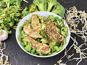 Asian Chicken with Broccoli on Salad