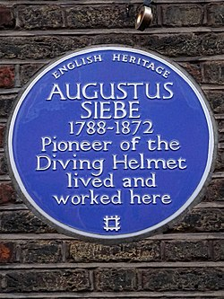 Augustus siebe 1788 1872 pioneer of the diving helmet lived and worked here