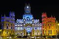 Ayuntamiento de Madrid iluminado en homenaje a atentados de Paris.JPG