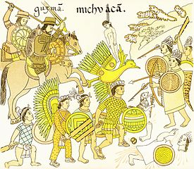 The Aztecs and Hernán Cortés via Wikimedia Commons