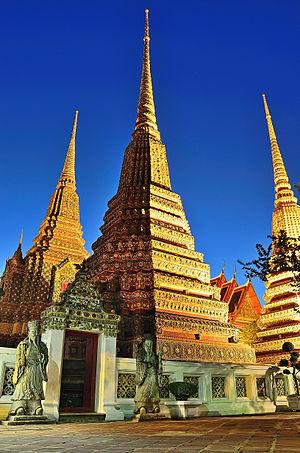 Thai art - Phra Maha Chedi Si Ratchakan at Wat Pho, Bangkok.
