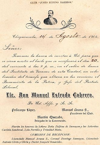 Manuel Estrada Cabrera - Invitation to the celebration of Estrada Cabrera 1904 reelection in Chiquimula.