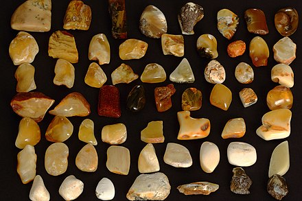 Baltic Amber was once a valuable trade resource. It was transported from the region of modern-day Lithuania to the Roman Empire and Egypt through the Amber Road. Baltic-amber-colours.JPG