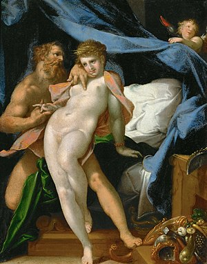 Maia (mythology) - Vulcan and Maia (1585) by Bartholomäus Spranger