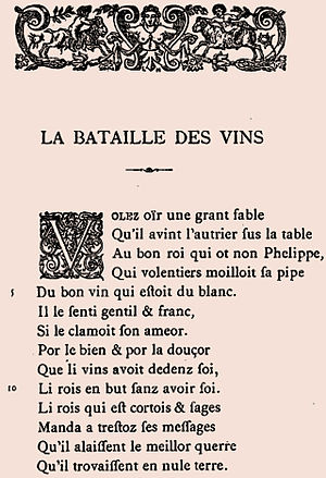 Battle of the Wines - First page of Battle of the Wines