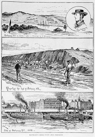 Docklands, Victoria - Illustration of the rapid changes to Batman's Hill