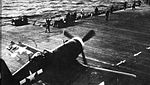 Battle-damaged F4U-1 Corsair on USS Bennington (CV-20) in 1945.jpg