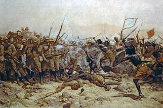 19th Royal Hussars - The Battle of Abu Klea at which the 19th Royal Hussars successfully secured the wells, in January 1885, William Barnes Wollen
