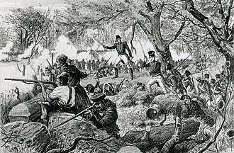 Battle of the Chateauguay -  Bataille de la Chateauguay  by Henri Julien. Lithograph from Le Journal de Dimanche, 1884.