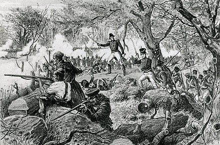 In October 1813, a force of Canadian Fencibles, militiamen, and Mohawks repelled an American attempt to take Montreal at the Chateauguay River. Battle of Chateauguay.jpg