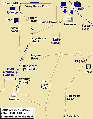 Battle of Prairie Grove map - 4 pm