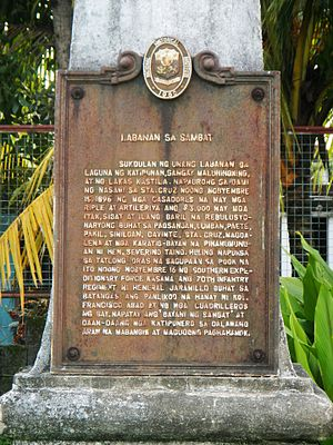 Battle of Sambat - Historical Marker at the site of the battle, Pagsanjan, Laguna