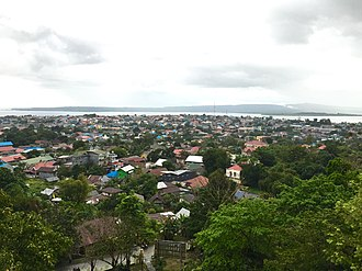 Baubau - Baubau as seen from the Buton Palace Fortress, with the island of Muna in the distance.