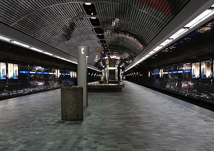 Some light rail networks feature extensive underground sections, like the Edmonton LRT in Canada. Bay-Enterprise Square station platform.jpg