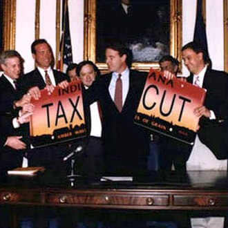 Evan Bayh - As governor, Bayh implemented a $1.6 billion tax cut, the largest in state history, before Governor Mike Pence implemented one larger in 2013