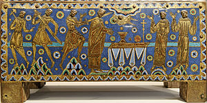 Limoges enamel - The martyrdom of Saint Thomas Becket, champlevé, 1180s (detail)