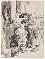 Bedelaars ontvangen een aalmoes aan een deur van een huis, James Ensor, 1880, Koninklijk Museum voor Schone Kunsten Antwerpen, 2711 6.001.jpeg