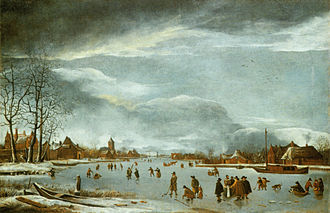 Anthonie Beerstraaten - Winter landscape with ice-skaters on a river, ca. 1655