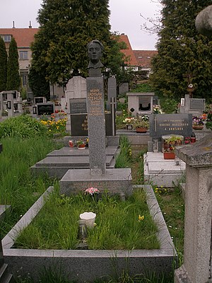 1987 in poetry - Grave of Czech poet Ladislav Stehlík.