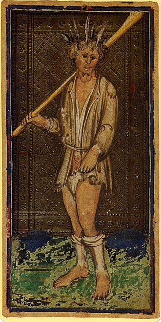 The Fool (Tarot card) - In the Visconti-Sforza tarot deck, the Fool is depicted as a ragged vagabond.