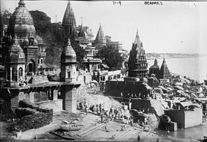 Manikarnika Ghat - Manikarnika Ghat in 1922. Temples are L to R: Baba Mashan Nath, Lower level: Tarkeshwar and Ratneshawar, upper level: Tripur Sundari and Ganesh