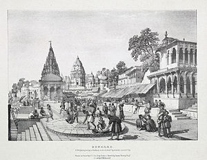 Varanasi - A lithograph by James Prinsep (1832) of a Brahmin placing a garland on the holiest location in the city