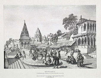A lithograph by James Prinsep (1832) of a Brahmin placing a garland on the holiest location in the city. - Varanasi