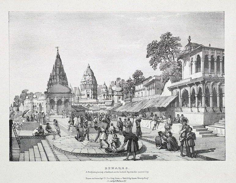 File:Benares A Brahmin placing a garland on the holiest spot in the sacred city by James Prinsep 1832.jpg