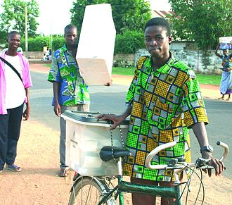 2006 Beninese presidential election - Civil Society members offer their own transportation means to carry and safeguard the transparent ballot boxes from the polling stations to the electoral commission offices.