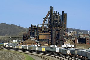 Deindustrialization - The Bethlehem Steel plant in Pennsylvania went bankrupt in 2001, and has since been demolished to build the Sands Casino.