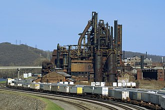 Lehigh Line (Norfolk Southern) - The Lehigh Line passing by the site of the former Bethlehem Steel plant, which is now the Sands Casino Resort Bethlehem