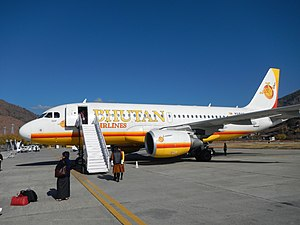 Bhutan Airlines Airbus A319-112 (A5-BAB) at Paro Airport.jpg