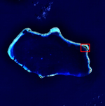 A blue colored image of island with one island boxed in the northeast.