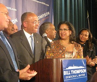 Bill Thompson (New York politician) - Thompson delivers his concession speech after losing the mayoral election.