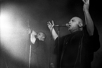 Bjesovi - Goran Marić (left) and Zoran Marinković (right) at a Bjesovi concert in Belgrade's Dom omladine in 1995.