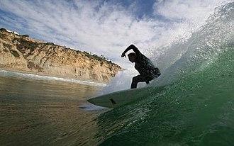 Sports in San Diego - A surfer at Black's Beach.