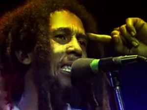 Marley filmed from left stage door during conc...