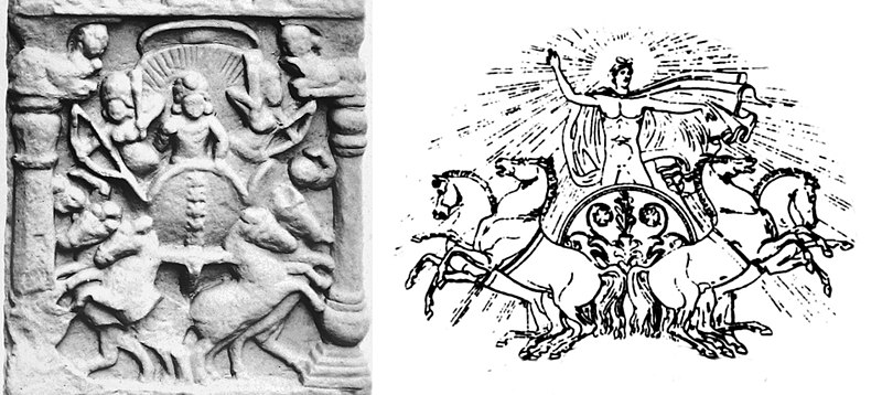 Left: Surya on a quadriga, Bodh Gaya relief, India. Right: Classical example of Phoebus Apollo on quadriga. Bodh Gaya quadriga relief of Surya and Classical example Phoebus Apollo on quadriga.jpg