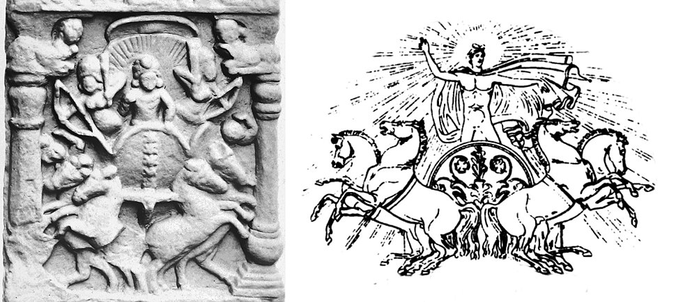 Bodh Gaya quadriga relief of Surya and Classical example Phoebus Apollo on quadriga