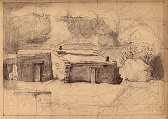 Charles Bolsius - Charles Bolsius, drawing, New Mexico Adobe